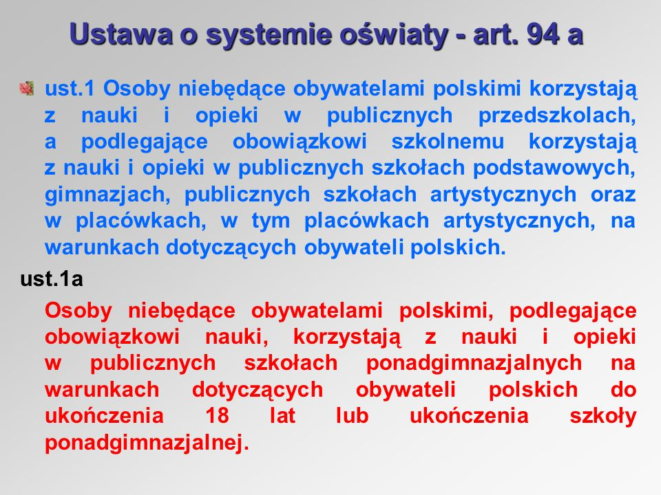 Ustawa o systemie oświaty - art.
