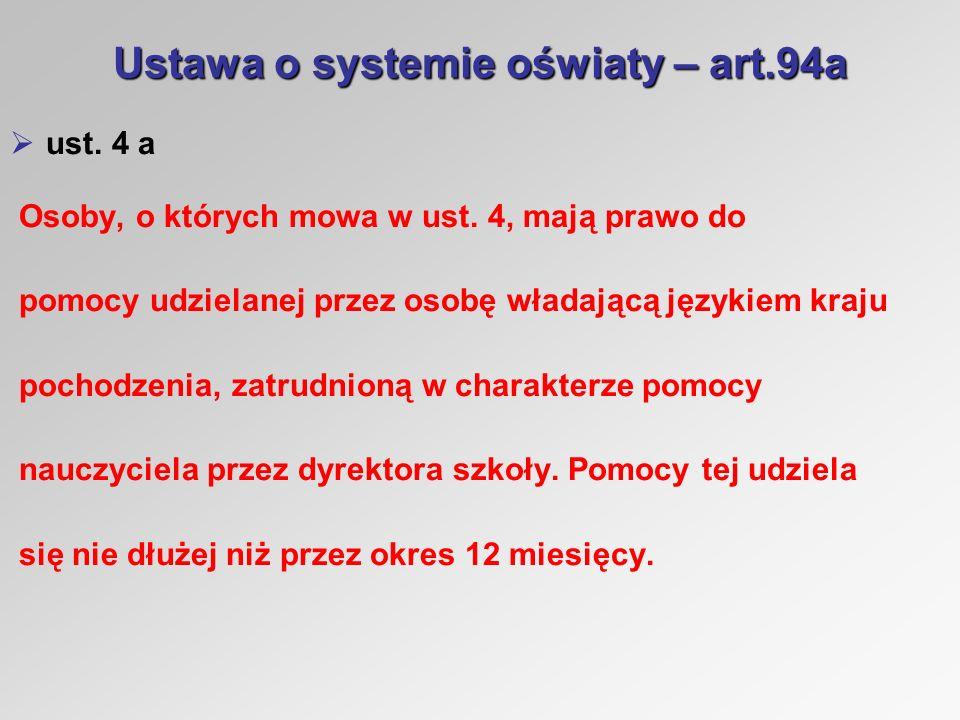 Ustawa o systemie oświaty – art.94a ust.4 b Uprawnienie, o którym mowa w ust.
