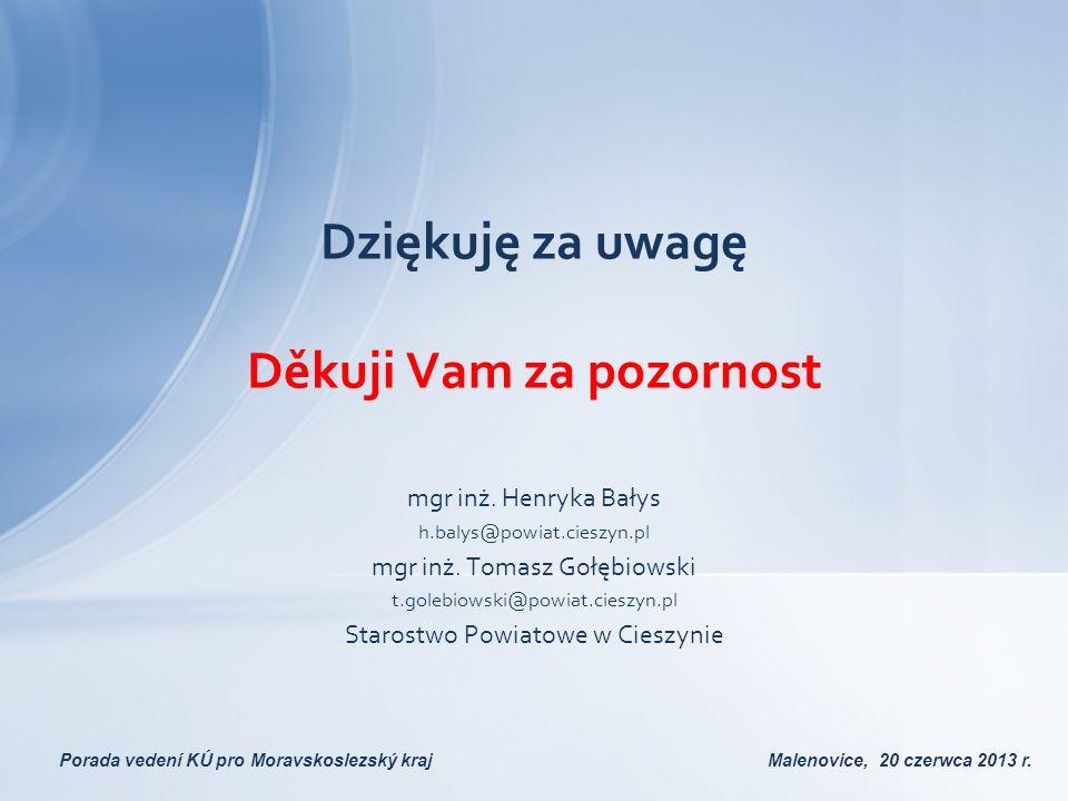 Dziękuję za uwagę Děkuji Vam za pozornost mgr inż. Henryka Bałys h.balys@powiat.cieszyn.pl mgr inż. Tomasz Gołębiowski t.golebiowski@powiat.cieszyn.pl