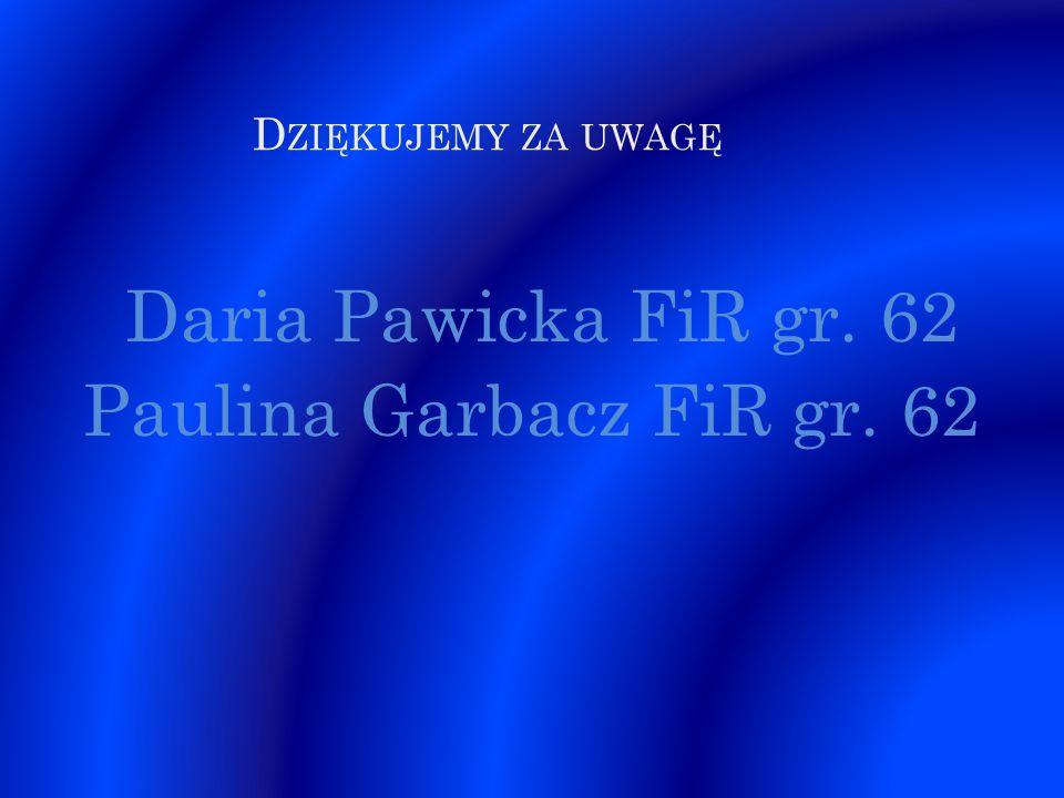 D ZIĘKUJEMY ZA UWAGĘ Daria Pawicka FiR gr. 62 Paulina Garbacz FiR gr. 62