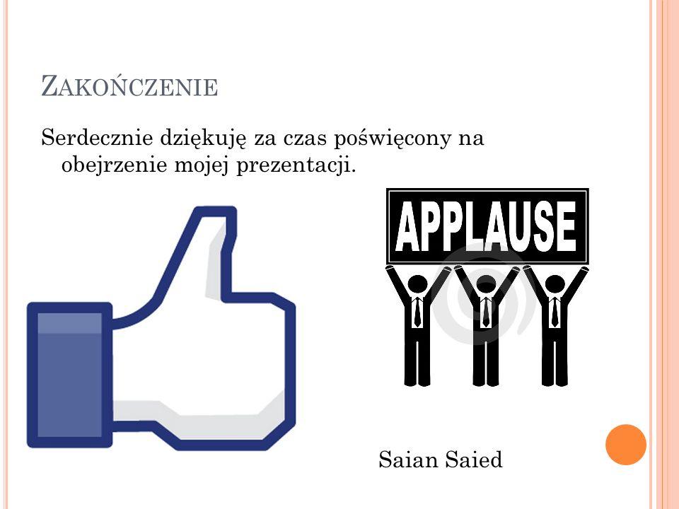 Z AKOŃCZENIE Serdecznie dziękuję za czas poświęcony na obejrzenie mojej prezentacji. Saian Saied
