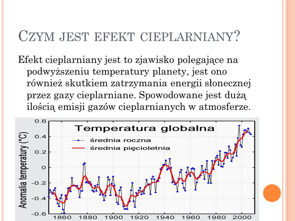 C ZYM JEST EFEKT CIEPLARNIANY ? Efekt cieplarniany jest to zjawisko polegające na podwyższeniu temperatury planety, jest ono również skutkiem zatrzyma
