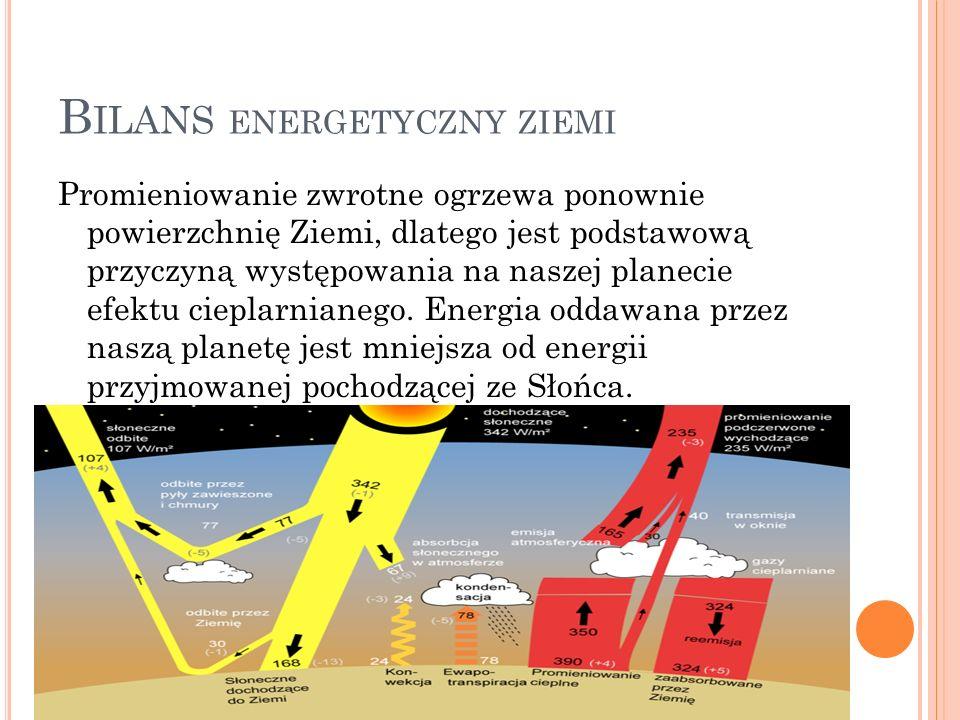 B ILANS ENERGETYCZNY ZIEMI Promieniowanie zwrotne ogrzewa ponownie powierzchnię Ziemi, dlatego jest podstawową przyczyną występowania na naszej planec