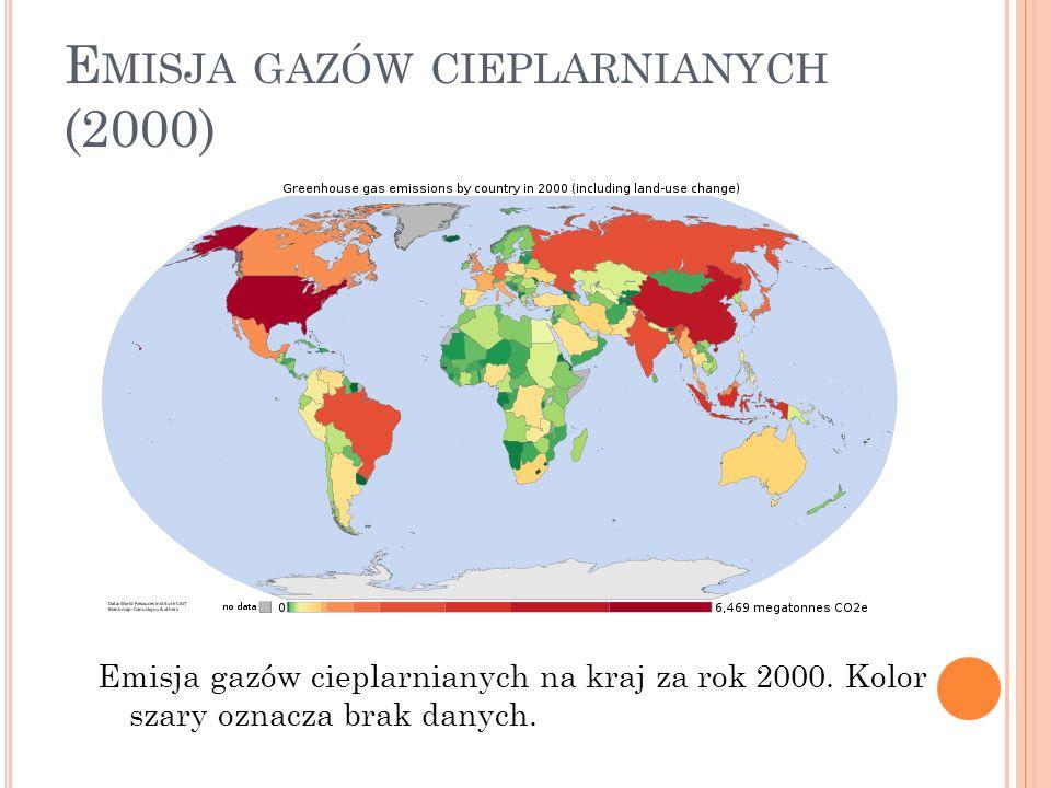 E MISJA GAZÓW CIEPLARNIANYCH (2000) Emisja gazów cieplarnianych na kraj za rok 2000. Kolor szary oznacza brak danych.