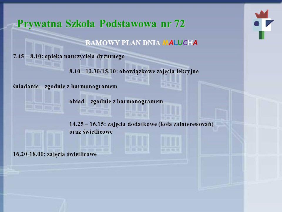Prywatna Szkoła Podstawowa nr 72 RAMOWY PLAN DNIA MALUCHA 7.45 – 8.10: opieka nauczyciela dyżurnego 8.10 - 12.30/15.10: obowiązkowe zajęcia lekcyjne ś