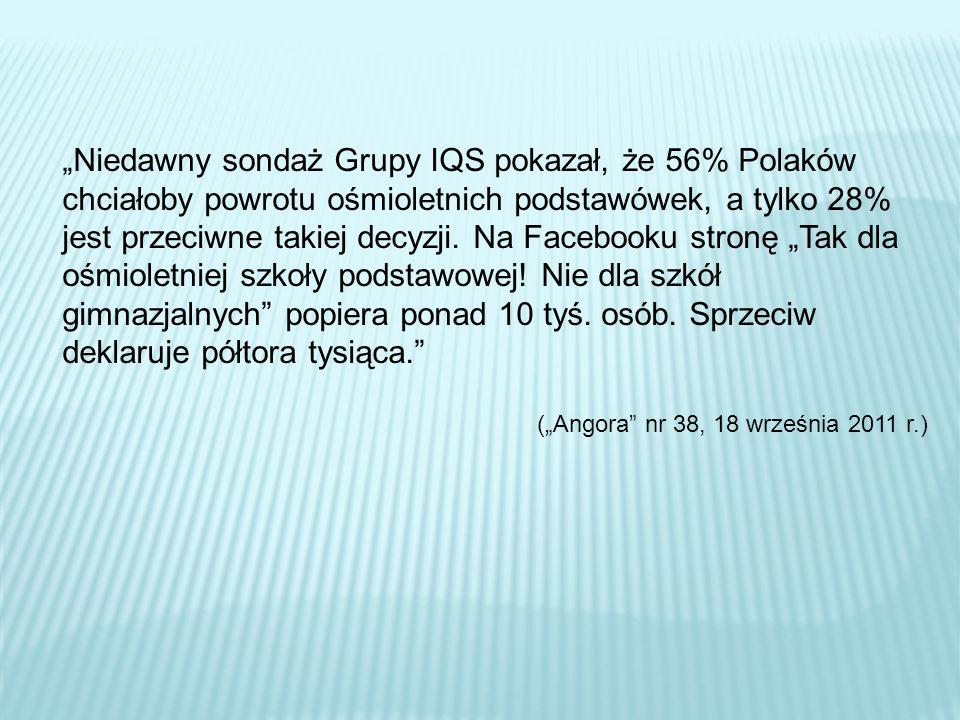 Niedawny sondaż Grupy IQS pokazał, że 56% Polaków chciałoby powrotu ośmioletnich podstawówek, a tylko 28% jest przeciwne takiej decyzji. Na Facebooku
