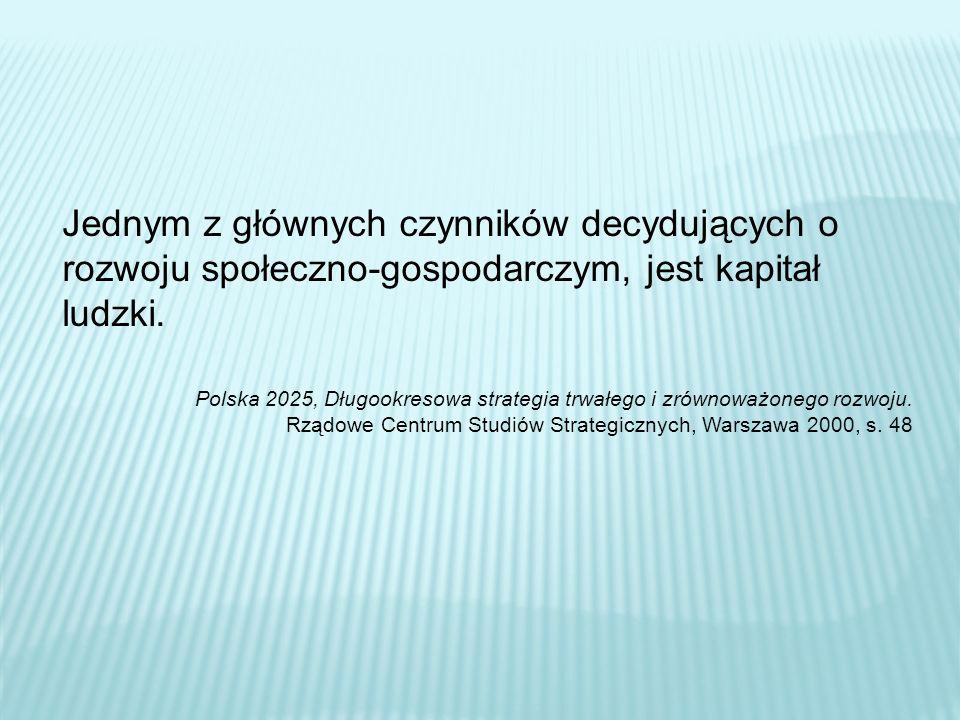 Jednym z głównych czynników decydujących o rozwoju społeczno-gospodarczym, jest kapitał ludzki. Polska 2025, Długookresowa strategia trwałego i zrówno