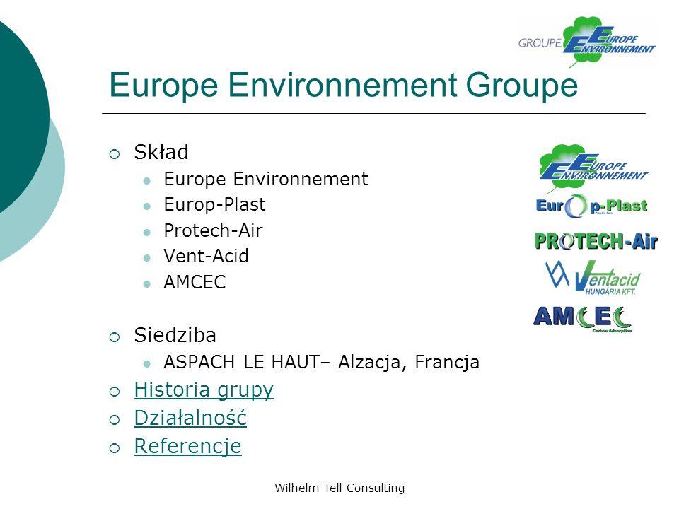 Wilhelm Tell Consulting Europe Environnement Groupe Biofiltracja Europe Environnement Zastosowanie nowoczesnych systemów bio-filtrów z wykorzystaniem bakterii w celu biologicznej degradacji zanieczyszczeń gazowych Wypełnienia: torf granulowany, torf włóknisty, substancja porowata SBRM TM Europe Environnement rozpoczyna obecnie badania nad bio-płukaniem