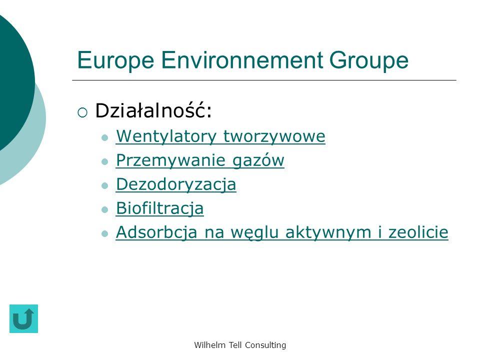 Wilhelm Tell Consulting Europe Environnement Groupe Działalność: Wentylatory tworzywowe Przemywanie gazów Dezodoryzacja Biofiltracja Adsorbcja na węgl