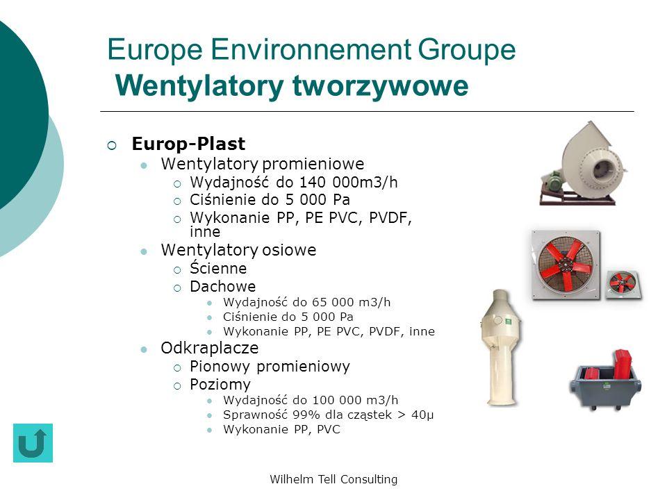 Wilhelm Tell Consulting Europe Environnement Groupe Wentylatory tworzywowe Europ-Plast Wentylatory promieniowe Wydajność do 140 000m3/h Ciśnienie do 5