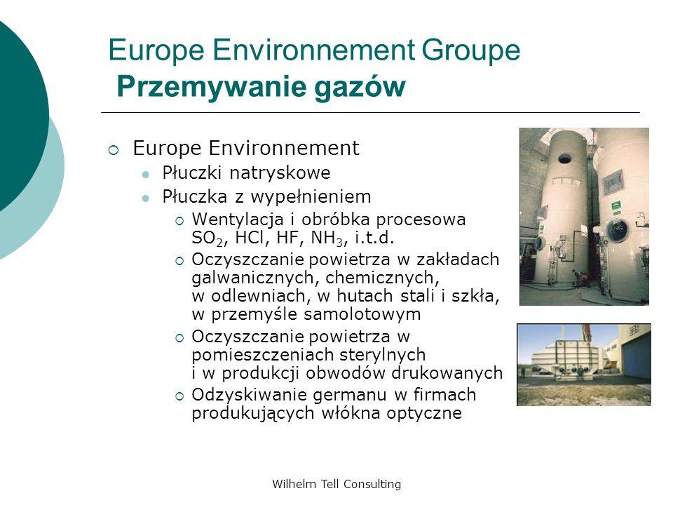 Wilhelm Tell Consulting Europe Environnement Groupe Przemywanie gazów Europe Environnement Płuczki natryskowe Płuczka z wypełnieniem Wentylacja i obró