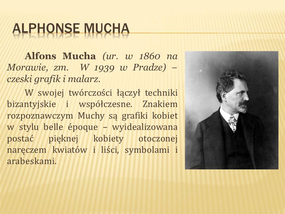 Alfons Mucha (ur. w 1860 na Morawie, zm. W 1939 w Pradze) czeski grafik i malarz. W swojej twórczości łączył techniki bizantyjskie i współczesne. Znak