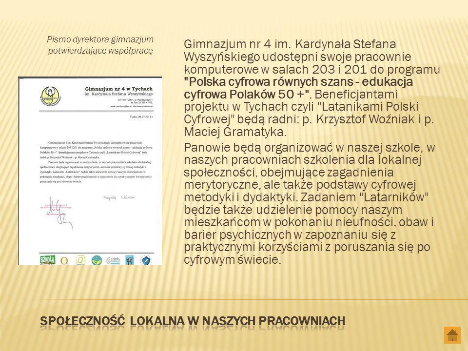 Pismo dyrektora gimnazjum potwierdzające współpracę Gimnazjum nr 4 im.