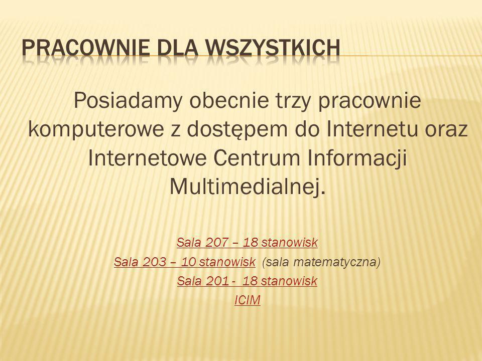 Posiadamy obecnie trzy pracownie komputerowe z dostępem do Internetu oraz Internetowe Centrum Informacji Multimedialnej.