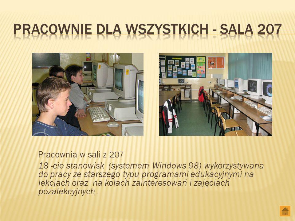 Pracownia w sali z 207 18 -cie stanowisk (systemem Windows 98) wykorzystywana do pracy ze starszego typu programami edukacyjnymi na lekcjach oraz na kołach zainteresowań i zajęciach pozalekcyjnych.