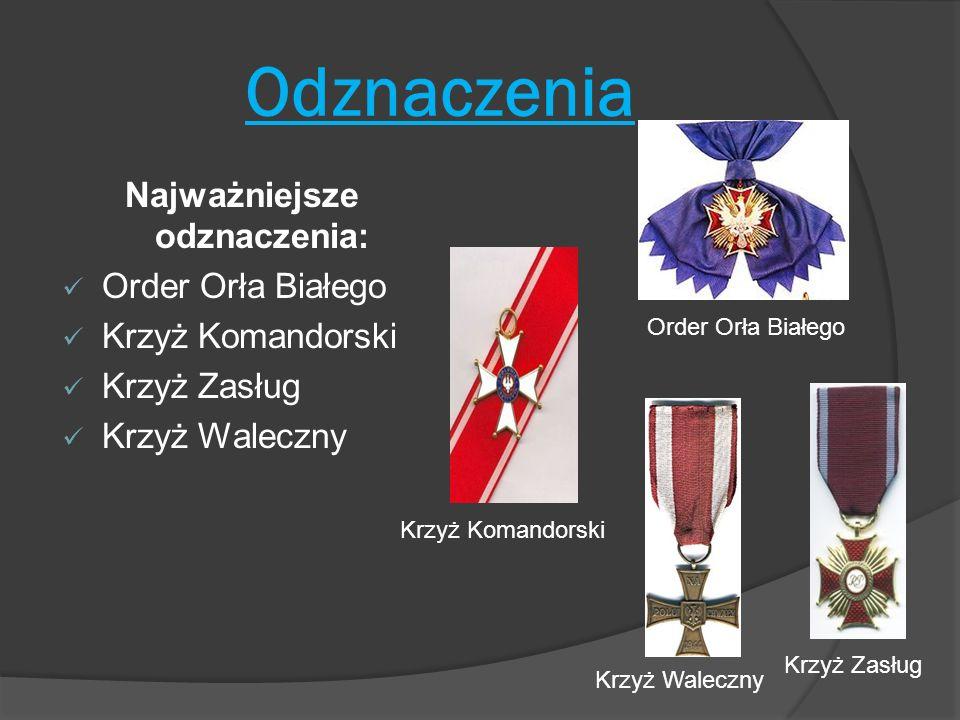 Odznaczenia Najważniejsze odznaczenia: Order Orła Białego Krzyż Komandorski Krzyż Zasług Krzyż Waleczny Order Orła Białego Krzyż Komandorski Krzyż Zas