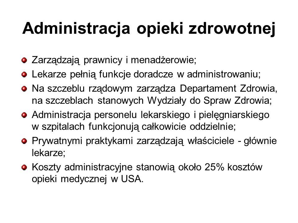 Administracja opieki zdrowotnej Zarządzają prawnicy i menadżerowie; Lekarze pełnią funkcje doradcze w administrowaniu; Na szczeblu rządowym zarządza D