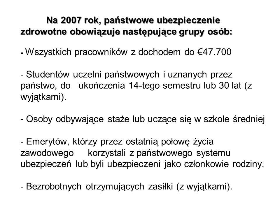 Na 2007 rok, państwowe ubezpieczenie zdrowotne obowiązuje następujące grupy osób: Na 2007 rok, państwowe ubezpieczenie zdrowotne obowiązuje następując