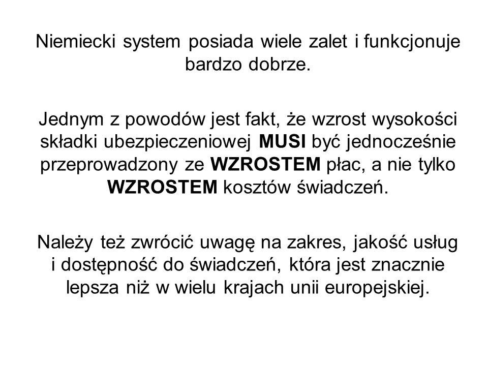 Niemiecki system posiada wiele zalet i funkcjonuje bardzo dobrze. Jednym z powodów jest fakt, że wzrost wysokości składki ubezpieczeniowej MUSI być je
