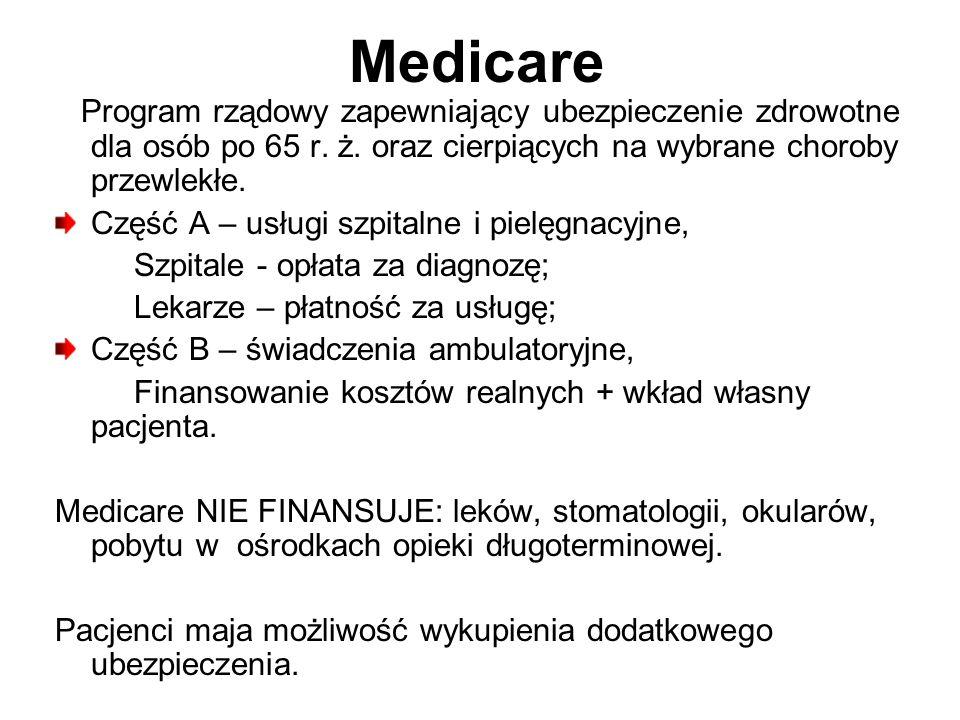 Medicare Program rządowy zapewniający ubezpieczenie zdrowotne dla osób po 65 r. ż. oraz cierpiących na wybrane choroby przewlekłe. Część A – usługi sz