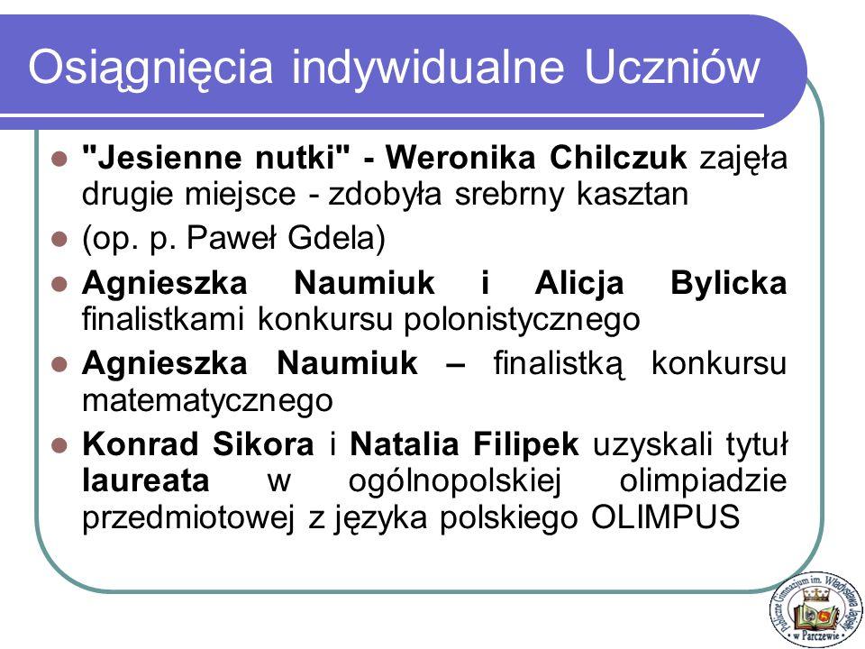 Osiągnięcia indywidualne Uczniów Weronika Chilczuk zdobyła II miejsce podczas III Wojewódzkiego Konkursu Piosenki Rosyjskiej w Lublinie Opiekun - p.