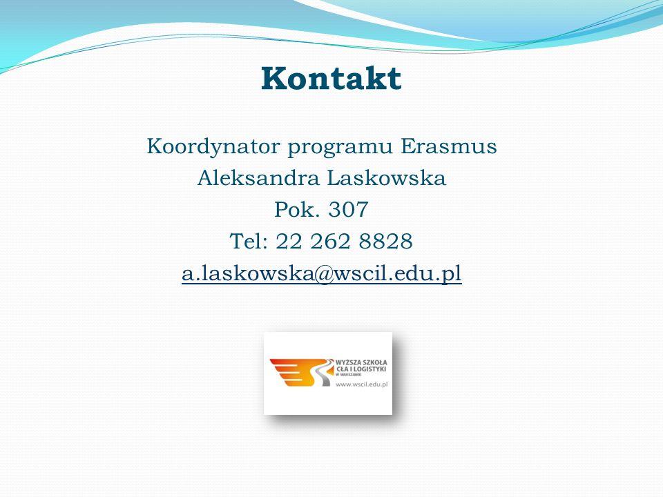 Kontakt Koordynator programu Erasmus Aleksandra Laskowska Pok. 307 Tel: 22 262 8828 a.laskowska@wscil.edu.pl