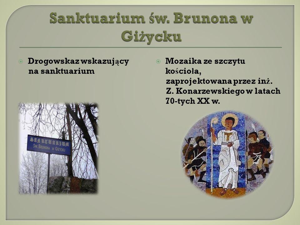 Drogowskaz wskazuj ą cy na sanktuarium Mozaika ze szczytu ko ś cio ł a, zaprojektowana przez in ż.