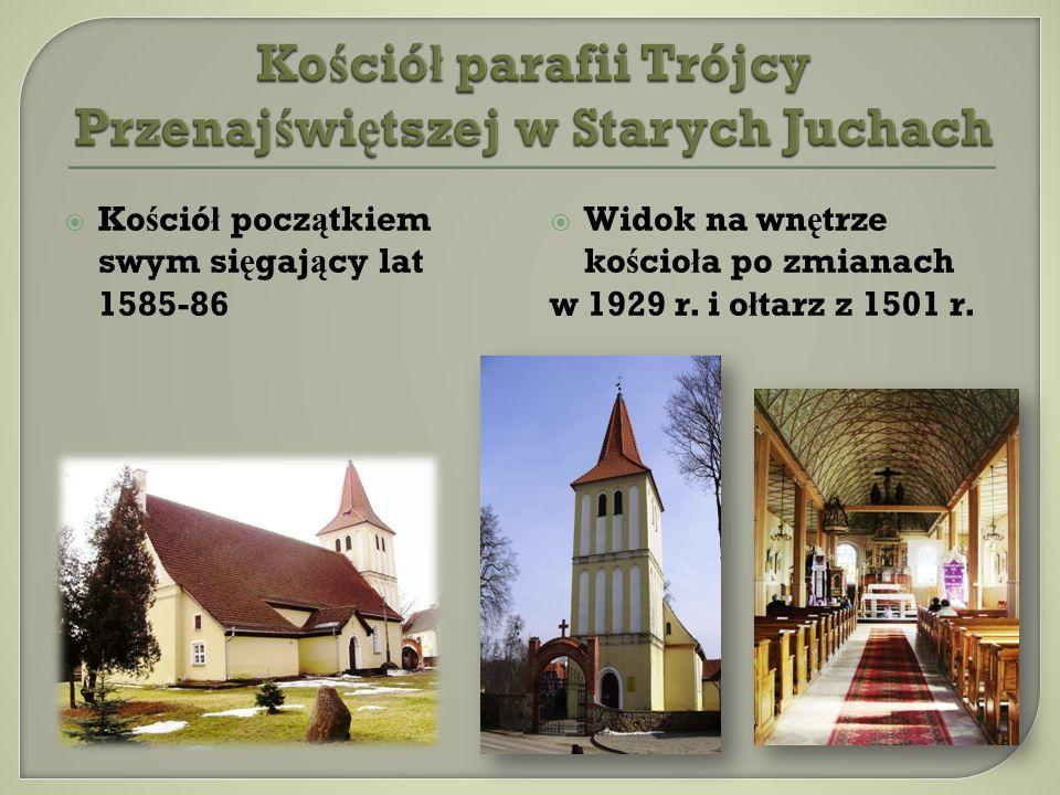 Ko ś ció ł pocz ą tkiem swym si ę gaj ą cy lat 1585-86 Widok na wn ę trze ko ś cio ł a po zmianach w 1929 r. i o ł tarz z 1501 r.