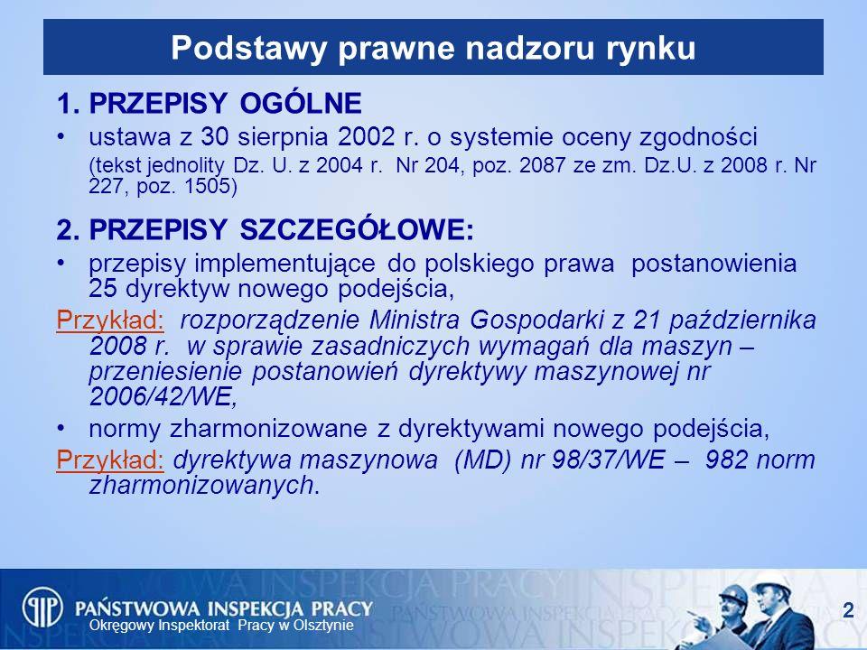 Okręgowy Inspektorat Pracy w Olsztynie 3 PIP – organ nadzoru rynku Organy Państwowej Inspekcji Pracy przeprowadzają kontrole wyrobów: wprowadzonych do obrotu lub oddanych do użytku, - po 1 maja 2004 roku.