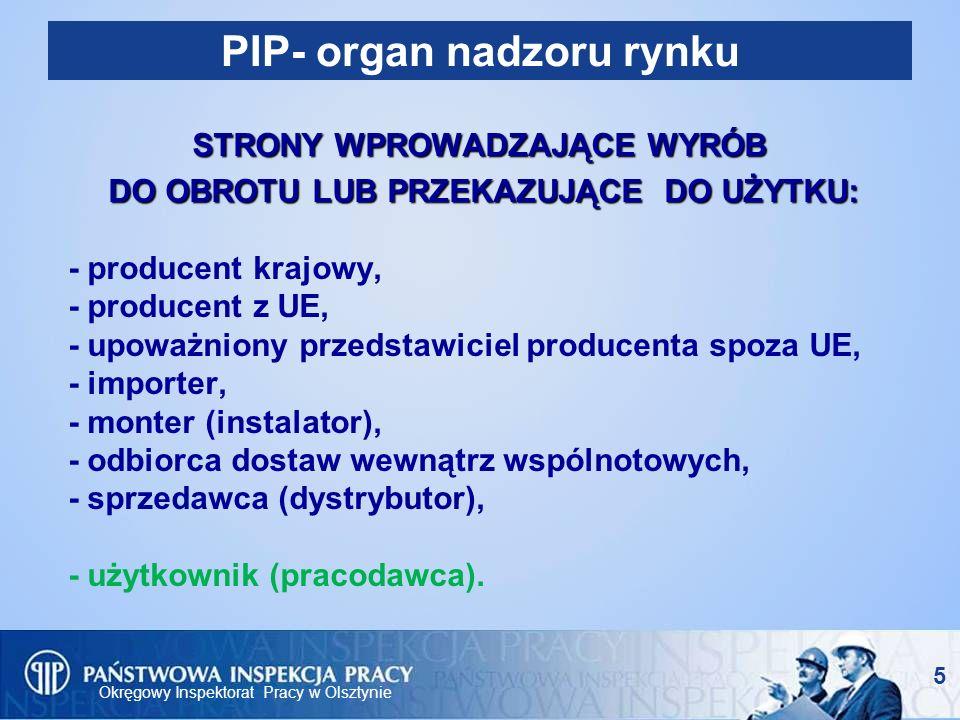 Okręgowy Inspektorat Pracy w Olsztynie 16 Możliwości prawne Okręgowego Inspektora Pracy w ramach nadzoru rynku (3) - Polecenie przeprowadzenia rekontroli Inspektor pracy na polecenie okręgowego inspektora pracy przeprowadza tzw.