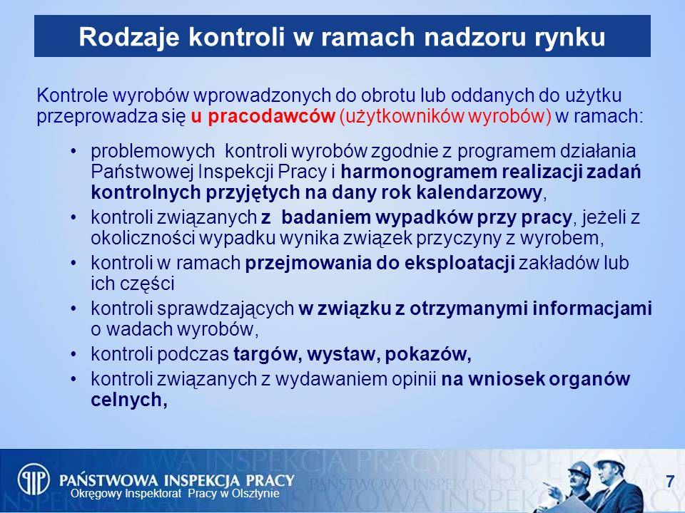 Okręgowy Inspektorat Pracy w Olsztynie 8 Zakres kontroli inspektora pracy w ramach nadzoru rynku Przedmiotem kontroli jest: - wyrób (maszyna, ŚOI) w zakresie wymagań zasadniczych - prawidłowość oznakowania wyrobu, - dokumentacja techniczna wyrobu.