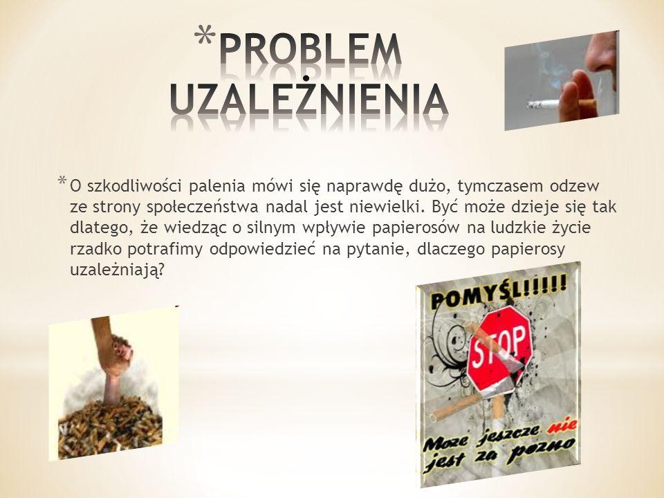 * Tak naprawdę za uzależnienie od papierosów odpowiada przede wszystkim nikotyna będąca bardzo silną substancją psychoaktywną.