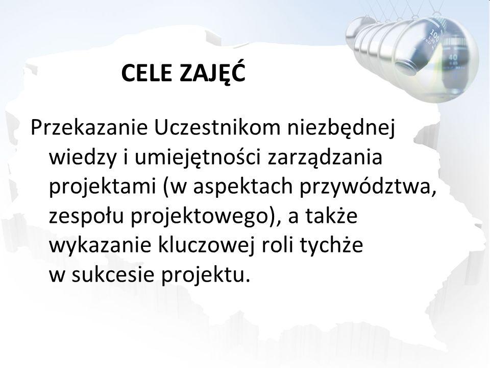 CELE ZAJĘĆ Przekazanie Uczestnikom niezbędnej wiedzy i umiejętności zarządzania projektami (w aspektach przywództwa, zespołu projektowego), a także wy