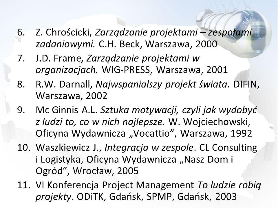 6.Z. Chrościcki, Zarządzanie projektami – zespołami zadaniowymi. C.H. Beck, Warszawa, 2000 7.J.D. Frame, Zarządzanie projektami w organizacjach. WIG-P