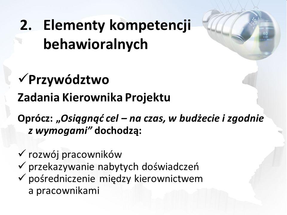 2.Elementy kompetencji behawioralnych Przywództwo Zadania Kierownika Projektu Oprócz: Osiągnąć cel – na czas, w budżecie i zgodnie z wymogami dochodzą