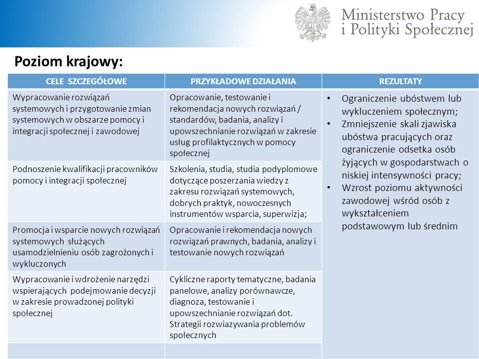 Poziom krajowy: CELE SZCZEGÓŁOWEPRZYKŁADOWE DZIAŁANIAREZULTATY Wypracowanie rozwiązań systemowych i przygotowanie zmian systemowych w obszarze pomocy