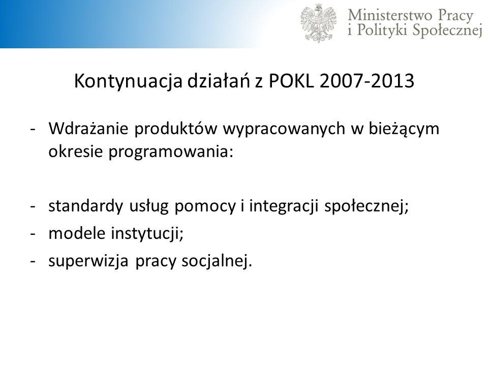Kontynuacja działań z POKL 2007-2013 -Wdrażanie produktów wypracowanych w bieżącym okresie programowania: -standardy usług pomocy i integracji społecz