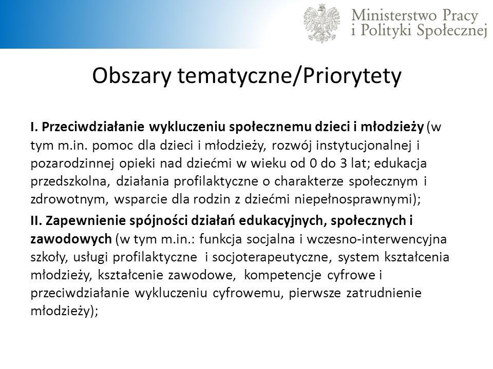 Obszary tematyczne/Priorytety I. Przeciwdziałanie wykluczeniu społecznemu dzieci i młodzieży (w tym m.in. pomoc dla dzieci i młodzieży, rozwój instytu