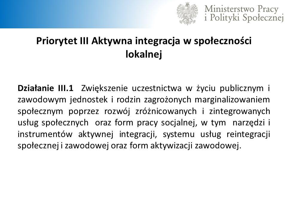 Priorytet III Aktywna integracja w społeczności lokalnej Działanie III.1 Zwiększenie uczestnictwa w życiu publicznym i zawodowym jednostek i rodzin za
