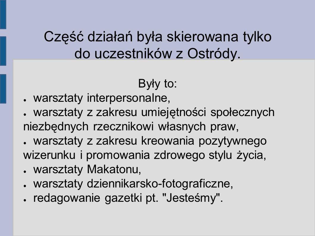Część działań była skierowana tylko do uczestników z Ostródy.