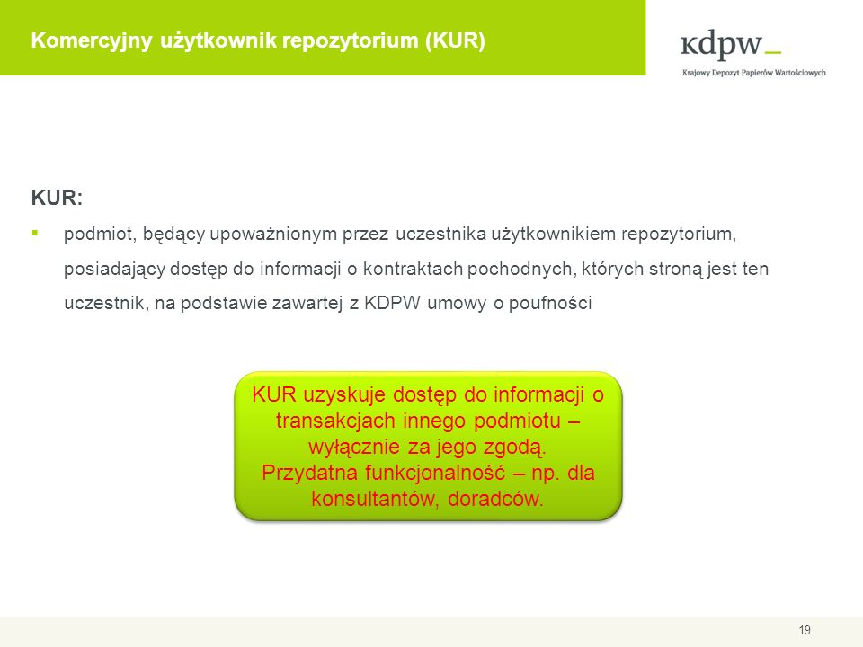 Komercyjny użytkownik repozytorium (KUR) KUR: podmiot, będący upoważnionym przez uczestnika użytkownikiem repozytorium, posiadający dostęp do informac