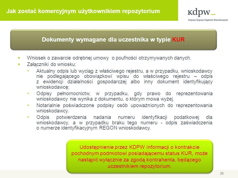 Jak zostać komercyjnym użytkownikiem repozytorium Wniosek o zawarcie odrębnej umowy o poufności otrzymywanych danych. Załączniki do wniosku: Aktualny