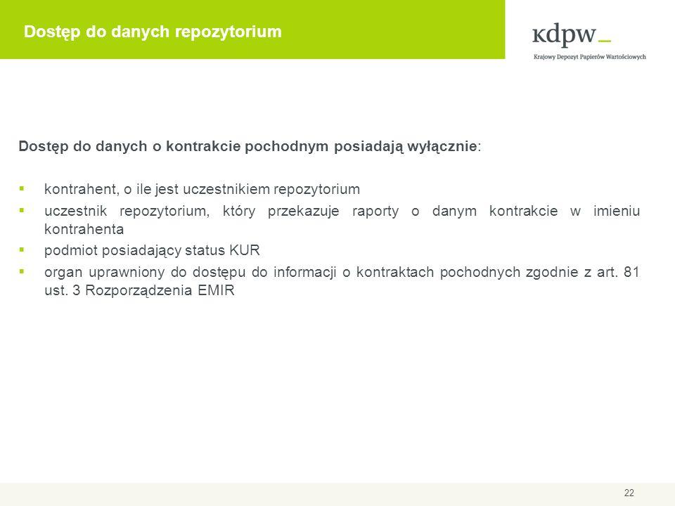 Dostęp do danych repozytorium Dostęp do danych o kontrakcie pochodnym posiadają wyłącznie: kontrahent, o ile jest uczestnikiem repozytorium uczestnik
