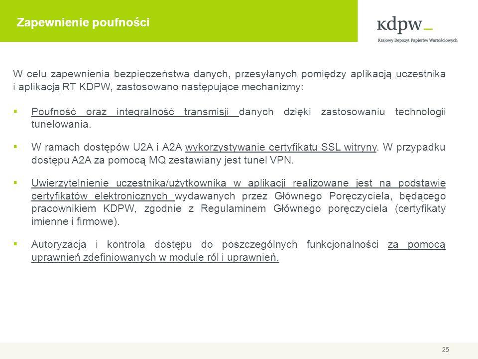 Zapewnienie poufności W celu zapewnienia bezpieczeństwa danych, przesyłanych pomiędzy aplikacją uczestnika i aplikacją RT KDPW, zastosowano następując