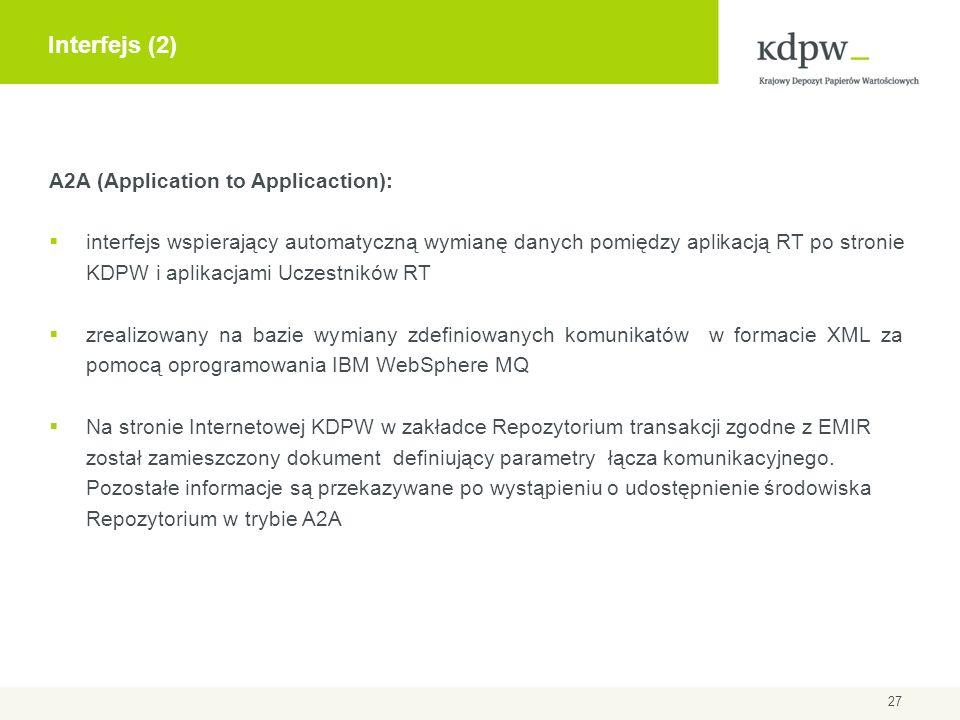 A2A (Application to Applicaction): interfejs wspierający automatyczną wymianę danych pomiędzy aplikacją RT po stronie KDPW i aplikacjami Uczestników R