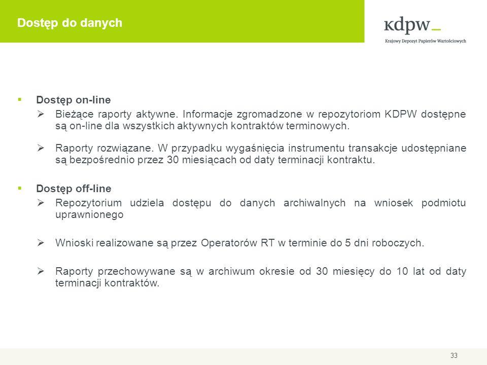 Dostęp do danych Dostęp on-line Bieżące raporty aktywne. Informacje zgromadzone w repozytoriom KDPW dostępne są on-line dla wszystkich aktywnych kontr