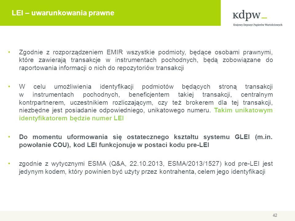 LEI – uwarunkowania prawne Zgodnie z rozporządzeniem EMIR wszystkie podmioty, będące osobami prawnymi, które zawierają transakcje w instrumentach poch