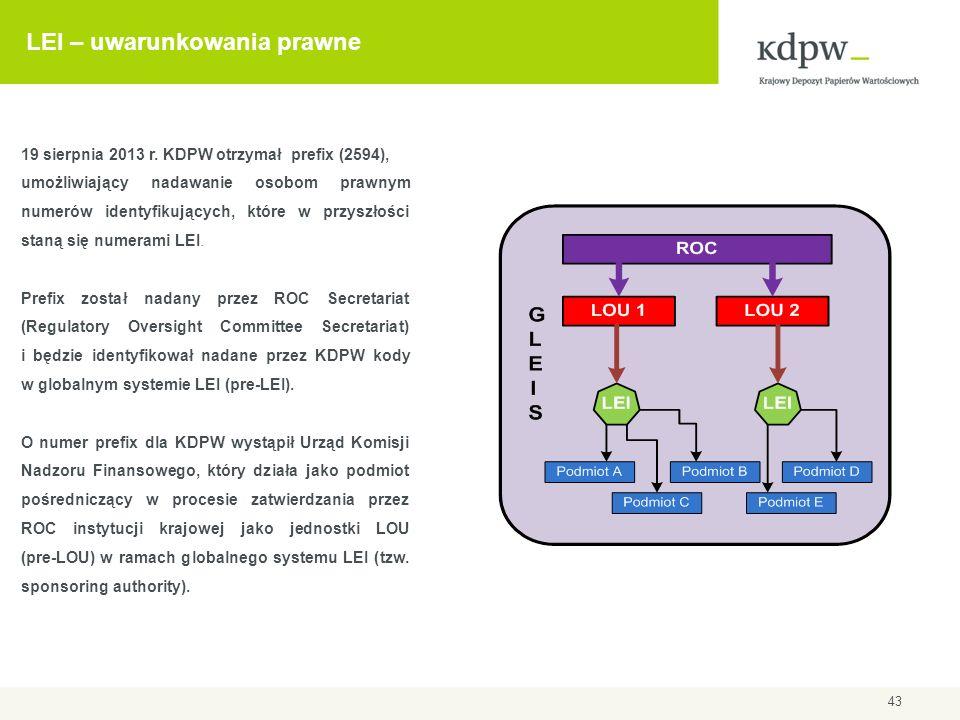LEI – uwarunkowania prawne 43 19 sierpnia 2013 r. KDPW otrzymał prefix (2594), umożliwiający nadawanie osobom prawnym numerów identyfikujących, które