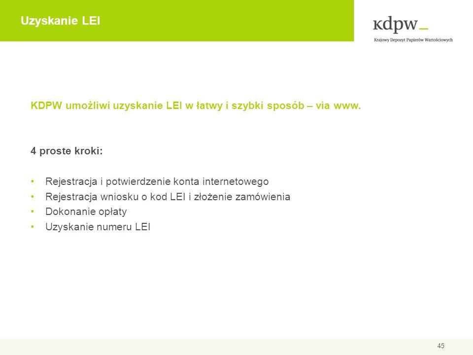 Uzyskanie LEI KDPW umożliwi uzyskanie LEI w łatwy i szybki sposób – via www. 4 proste kroki: Rejestracja i potwierdzenie konta internetowego Rejestrac