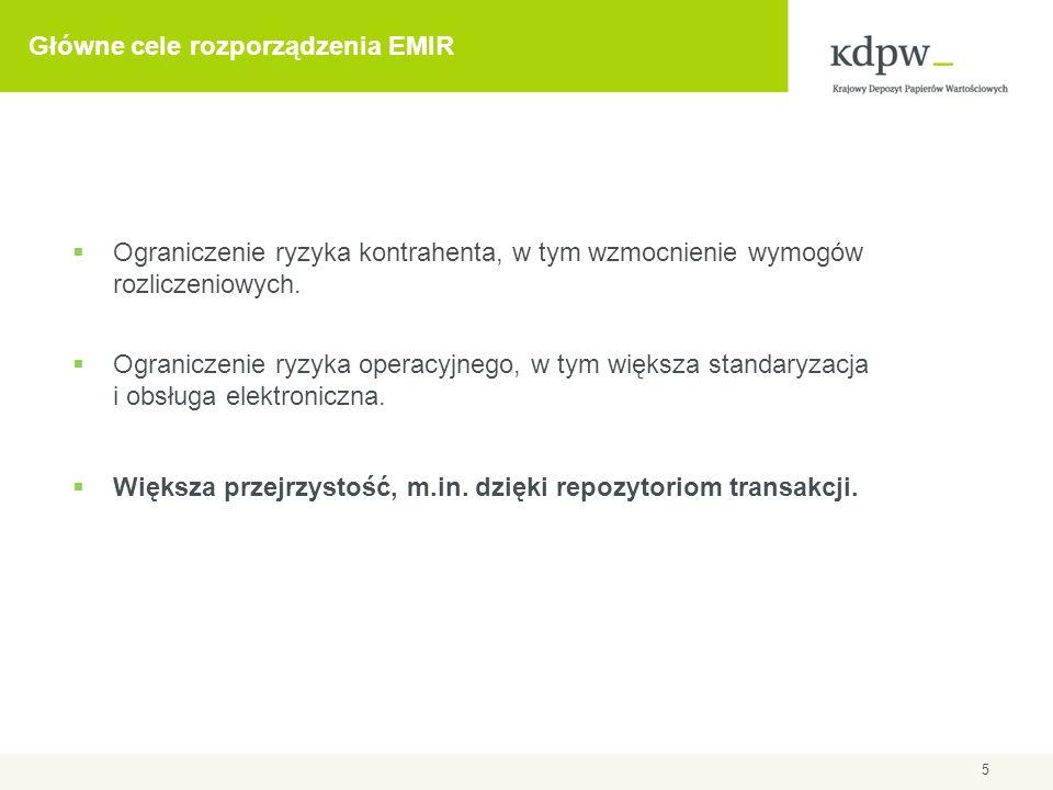 5 Główne cele rozporządzenia EMIR Ograniczenie ryzyka kontrahenta, w tym wzmocnienie wymogów rozliczeniowych. Ograniczenie ryzyka operacyjnego, w tym